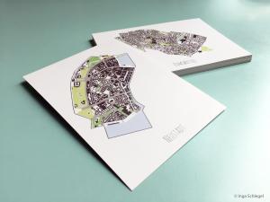 Kartographische Grüße mit Hamburg-Postkarten